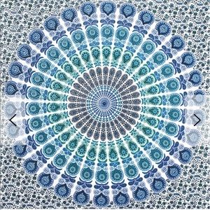 Blue patterned tapestry